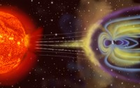 Illustration of Earth's Magnetosphere - The Earth is surrounded by a magnetosphere where the solar wind (charged particles from the Sun) are  deflected by Earth's magnetic field.