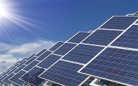 Photovoltaic panels generate electricity from sunlight.