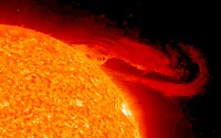 A magnificent eruptive solar prominence lifts away from the Sun's surface, unfurling into space over the course of several hours.
