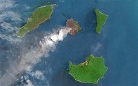 Krakatoa volcanic island in the Sunda Strait between Java and Sumatra in Indonesia.