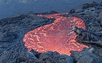 Lava flow is a moving outpouring of lava, which is created during a non-explosive eruption.
