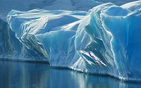 Ice caps and glaciers can store large quantities of frozen water for thousands of years.