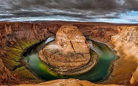 Colorado river bends and creates this magnificent formation known as Horseshoe Bend near the town of Page, Arizona.
